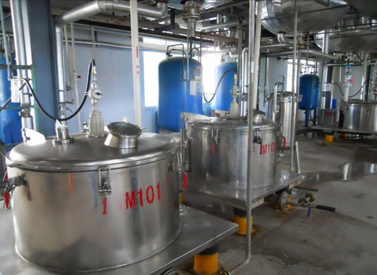 This is a room for the production of oil-based substances and requiring a multi-stage sterilization system.