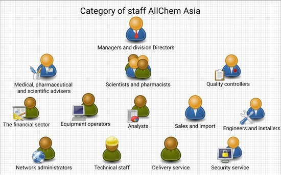 This table shows all the categories of AllChem Asia personnel.